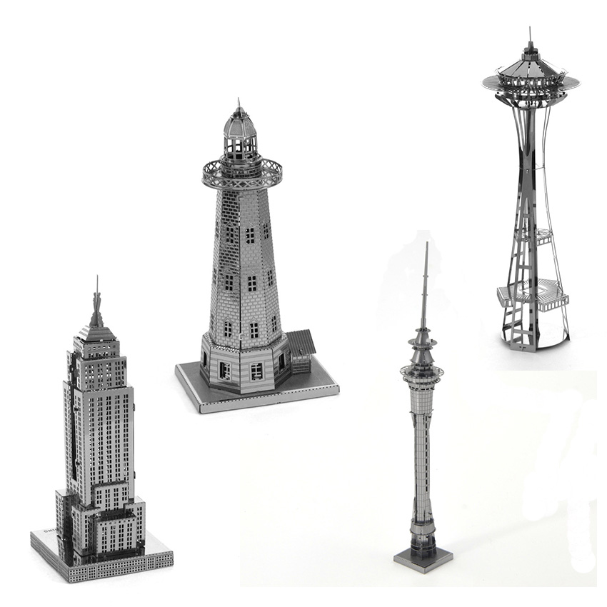 Famous building models Metal Works DIY 3D Laser Metal Models Assemble Miniature Metal 3D Model Metallic Nano Puzzle jugetes kids(China (Mainland))