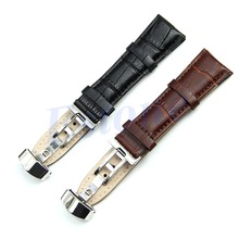 New Arrive Design Durable 18mm-24mm Genuine Leather Deployant Bracelet Strap Watch Band Black / Brown