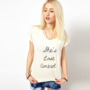 Wholesale Women Fashion Simple Letter Printed short sleeve T-shirt D036