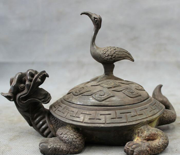 song voge gem S3022 Chinese 100% Pure Bronze Copper Crane On Longevity Shou Dragon Turtle Statue(China (Mainland))
