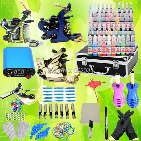 USA Dispatch Complete Pro Starter Tattoo Kit 3 Machines Guns 40 Inks LCD Power Needle Tip Grip equipment set K001 Supplies(China (Mainland))