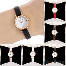 Women Rhinestone Rose Gold Alloy Case Ultra-thin Faux Leather Band Wrist Watch 2A8E