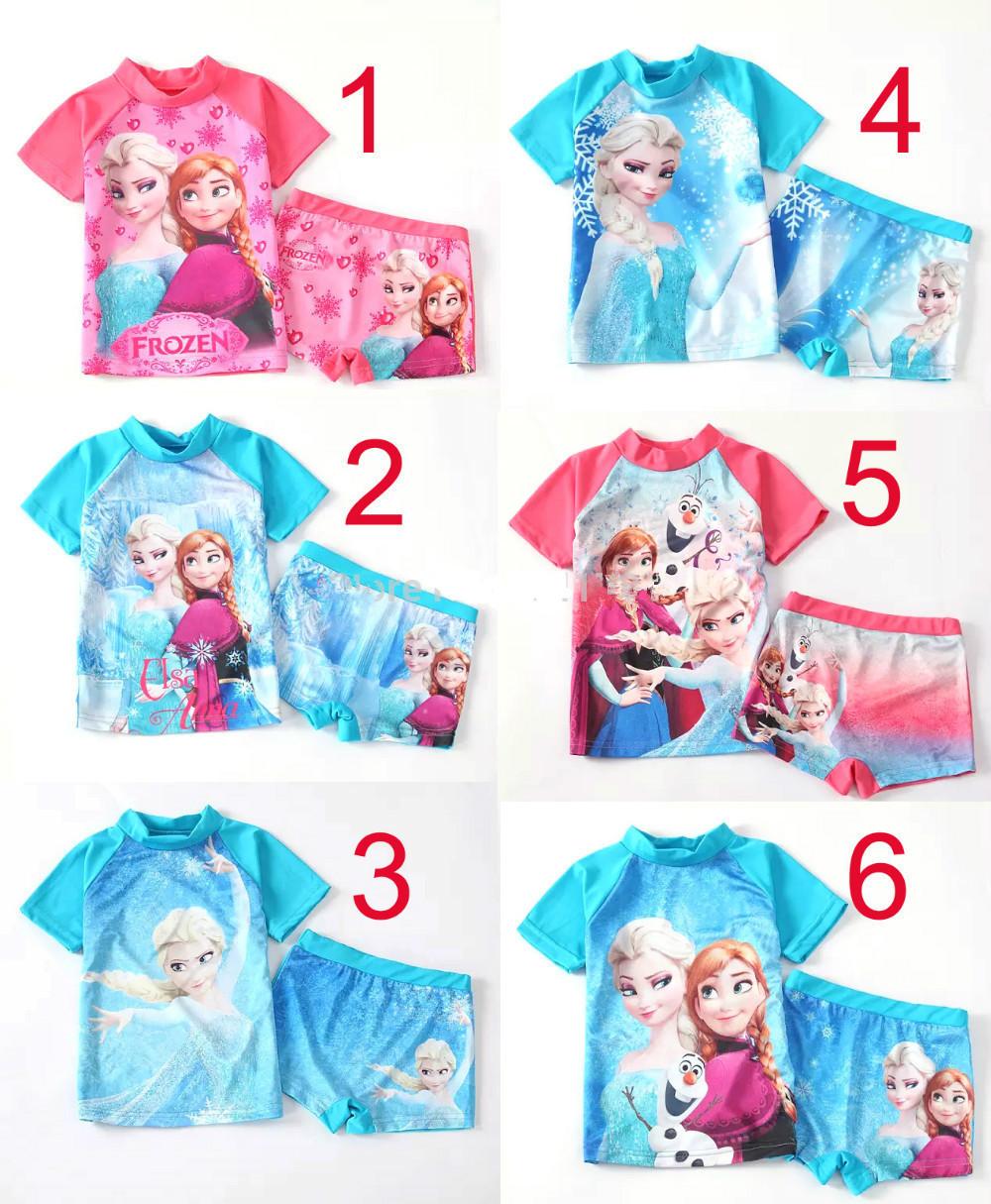 anna elsa two pieces rash guard kids short sleeve swimsuit girls sun protection anti-uv swimwear Surfing clothes 10sets/lot