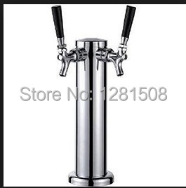 New brass beer and wine bar Two taps Beer tower Chrome Double Stainless Steel Tower Beer Tap Duel Faucet Draft Keg Kegerator NEW(China (Mainland))