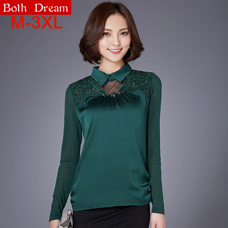 New 2016 Spring Women Shirts Fashion casual long sleeve Mesh patchwork women blouses shirt plus size women clothing blousesОдежда и ак�е��уары<br><br><br>Aliexpress