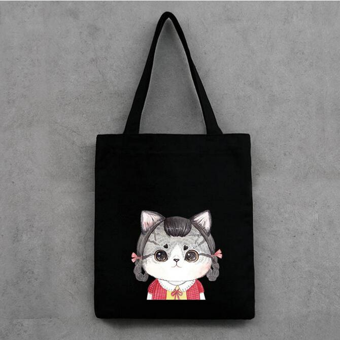 Fashion Hangbag Lovely Cat Pattern Shoulder Bags Casual Women Bag Black and White Shopping Bag Daily Use Canvas Tote Bag(China (Mainland))