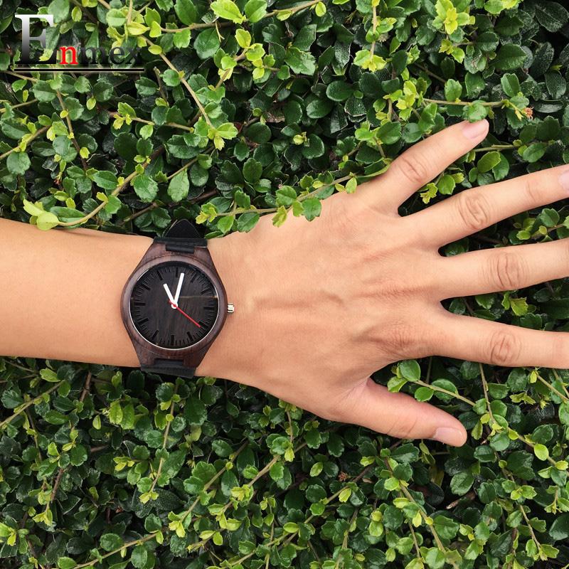 2016 festival Memorial Day gift Enmex dark colour Bamboo wristwatch work of art handmade natural wood quartz watches(China (Mainland))