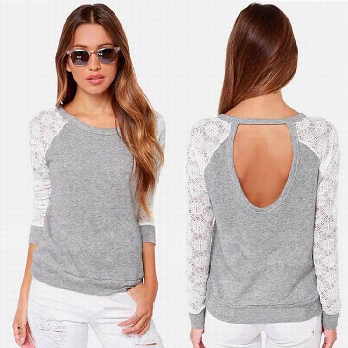 2015 New Fashion Women Girls Lady Backless Long Sleeve Embroidery Lace Crochet Shirt Top Blouse - Hong Kong Westline International Trade Co., Ltd. store