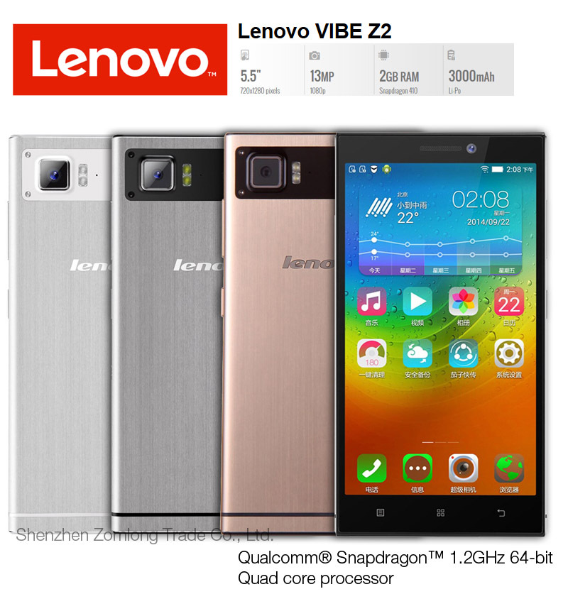 "Original Lenovo VIBE Z2 / Z2W / K920 mini 5.5"" IPS Screen 64-bit Quad Core CPU FDD 4G LTE NFC 2GB RAM 32GB ROM Mobile Cell Phone(China (Mainland))"