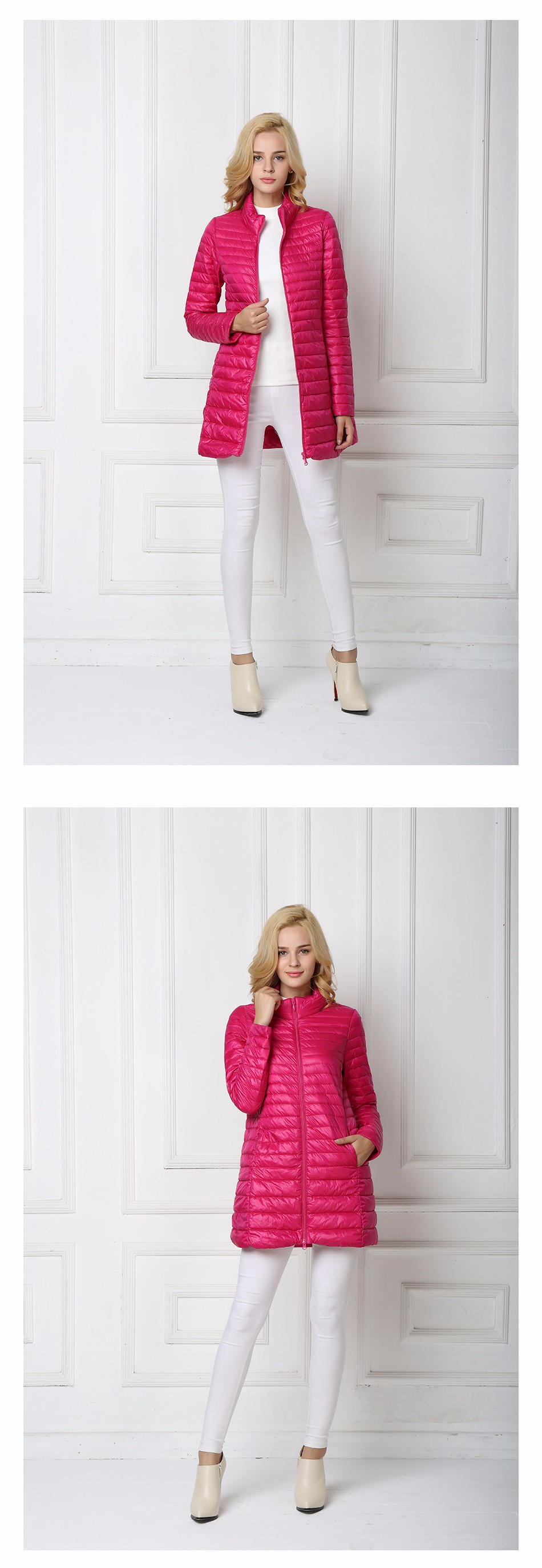 Скидки на T-INSIDE 2016 Зима Женщины Длинные Пуховики Мода Ultra Light Белый 90% Утка Вниз Пальто С Капюшоном Вниз Парки Для Женщин Плюс Размер