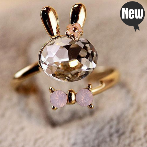 2015 Hot sale Cheap jewelry Korean fashion vintage jewelry crystal cute rabbit butterfly bow ring for women adjustable rings(China (Mainland))
