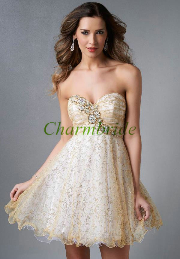 2014 short gold tulle homecoming dress hot,unique prom ...