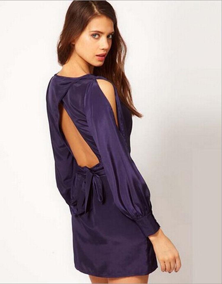 purple long sleeve short dress « Bella Forte Glass Studio