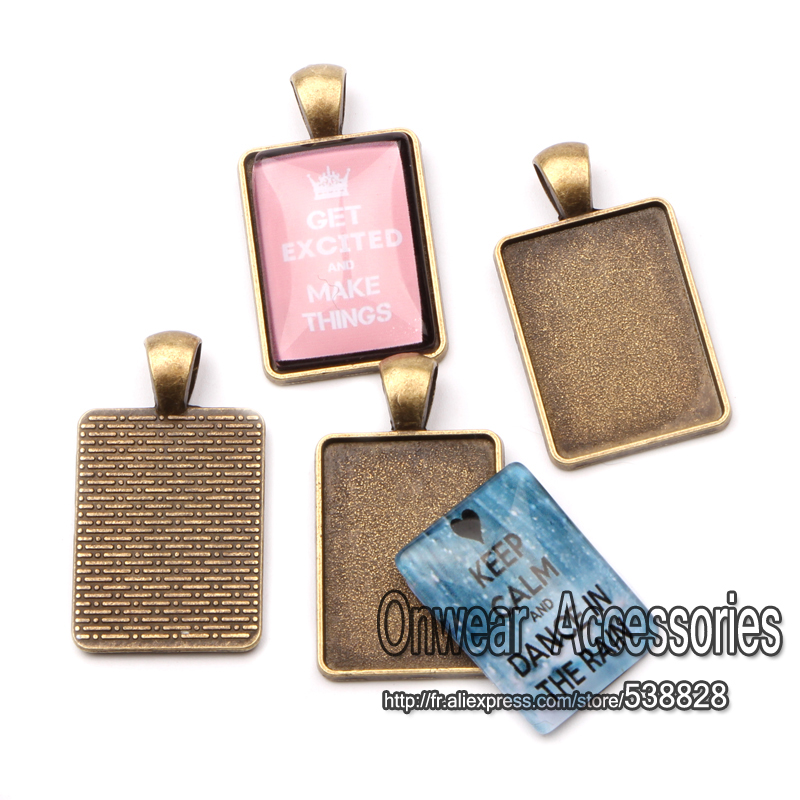 10pcs Fit 18*25mm Rectangle Cameo Pendant Cabochon Base Settings DIY Necklace Jewelry Findings(China (Mainland))
