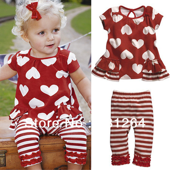 Free Shipping Kids Baby Girls 2 Pcs Top+Pants Outfits Red Hearts Striped Costume Clothes 0-3Y