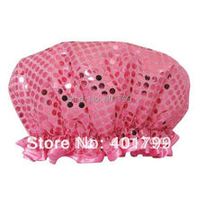 2014 Special Offer Real Freeshipping Pe Solid Eco-friendly 2 Layers 100%waterproof High Quality Luxury Glitter Shower Cap In(China (Mainland))
