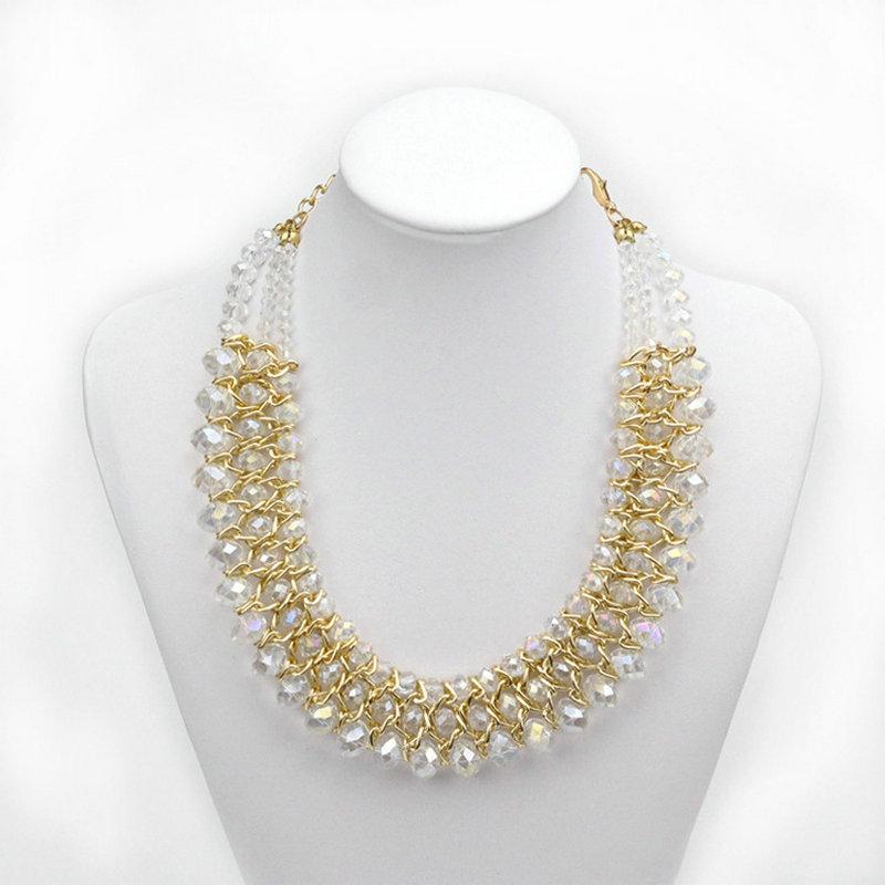 Aliexpress.com Comprar Collar de moda para mujeres 2015 vintage cadena del oro del Collar grano cristalino del ahogador del collares y colgantes Collar