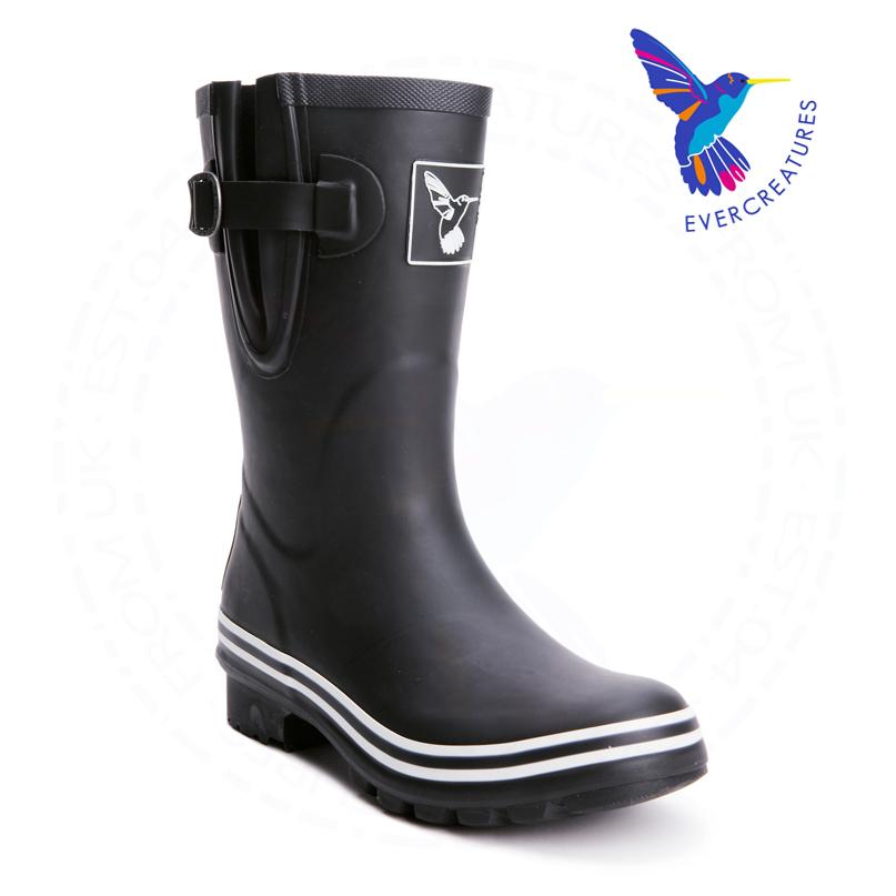 Women Mid-calf Wellies Black Short Rubber Rain Boots for Girl(China (Mainland))