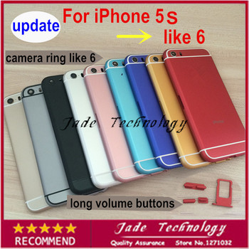 Update HQ for iPhone 5s like 6 Battery door raised camera ring like 6 mini Back 10 colors choose Housing Metal Middle Frame