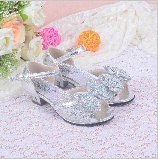 2016 NEW girls summer sandals children's high heels shoes girl princess little girl over the children shoes size 26-37