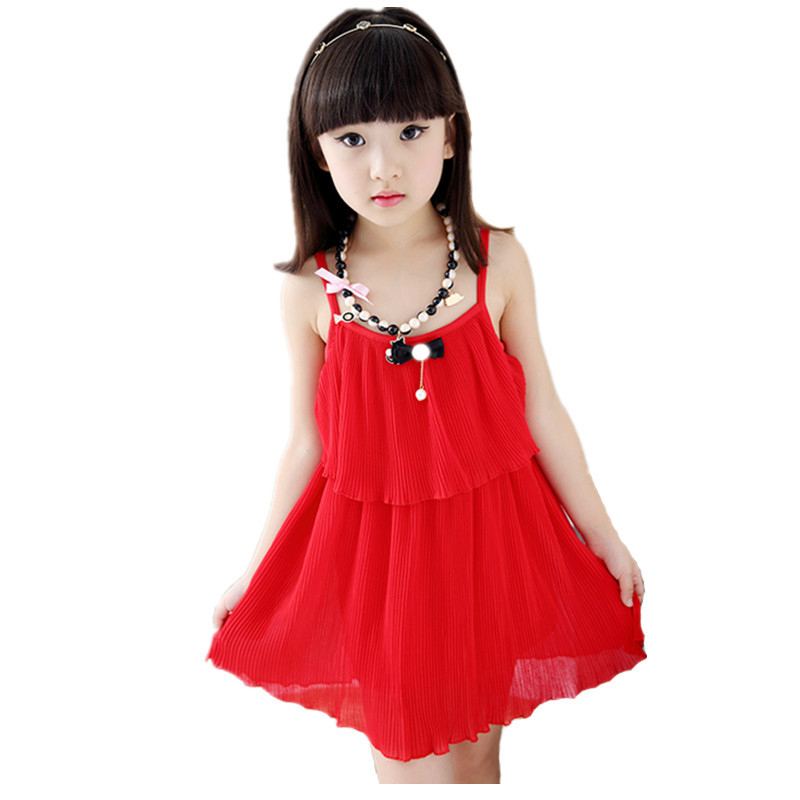 Solid Sleeveless Chiffon Girl Dress 2016 New Red Layered Halter Princess Party Bow Kids Formal Dress Children Clothing Vestidos(China (Mainland))