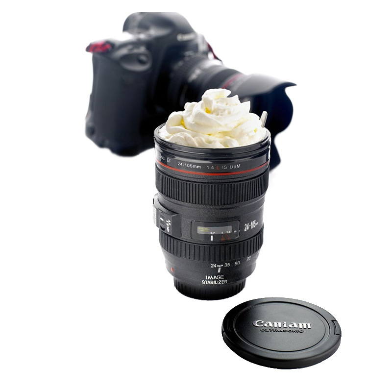 Great New Coffee Lens Emulation Camera Mug Cup Beer Cup Wine Cup With Lid Black Plastic Cup Mugs tazas cafe(China (Mainland))