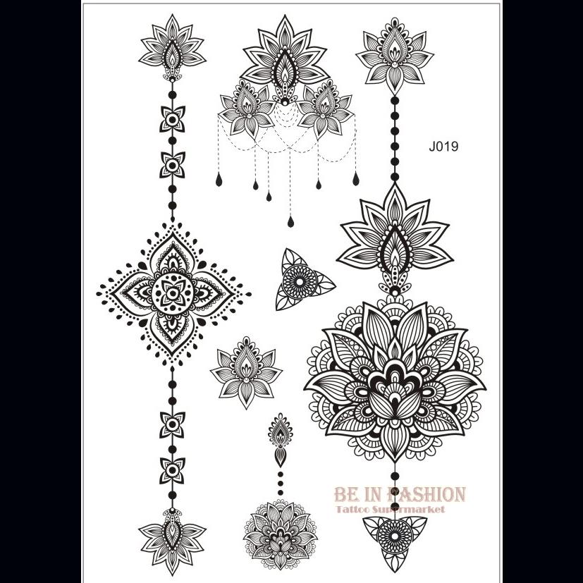 one piece Indian Arabic designs lace flash tribal black white henna tattoo paste fake tatoo sticker on body hand choker J019B(China (Mainland))