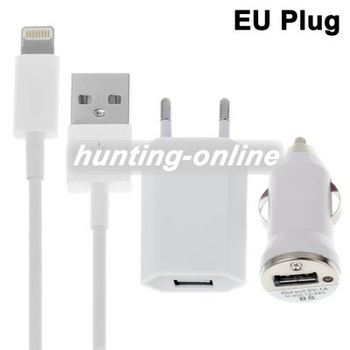 3 in 1 (EU Plug Home Charger, Car Charger, USB Cable) Travel Kit for iPhone 5, iTouch 5