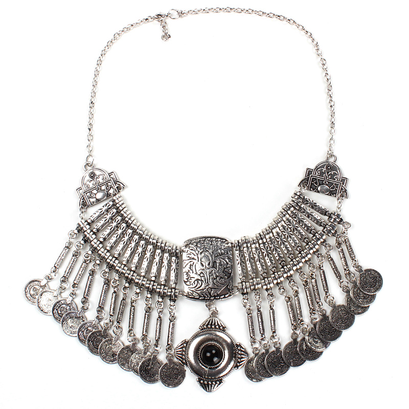 2014 bohemian vintage jewelry coin collar necklace silver