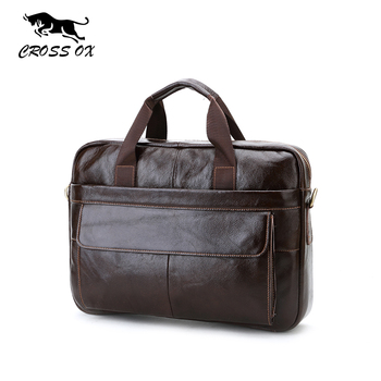 CROSS OX Genuine Leather Mens Briefcase Laptop Bags Men's Travel Bag Cowhide Men Shoulder Bags Business Man Handbag bolsa HB388F
