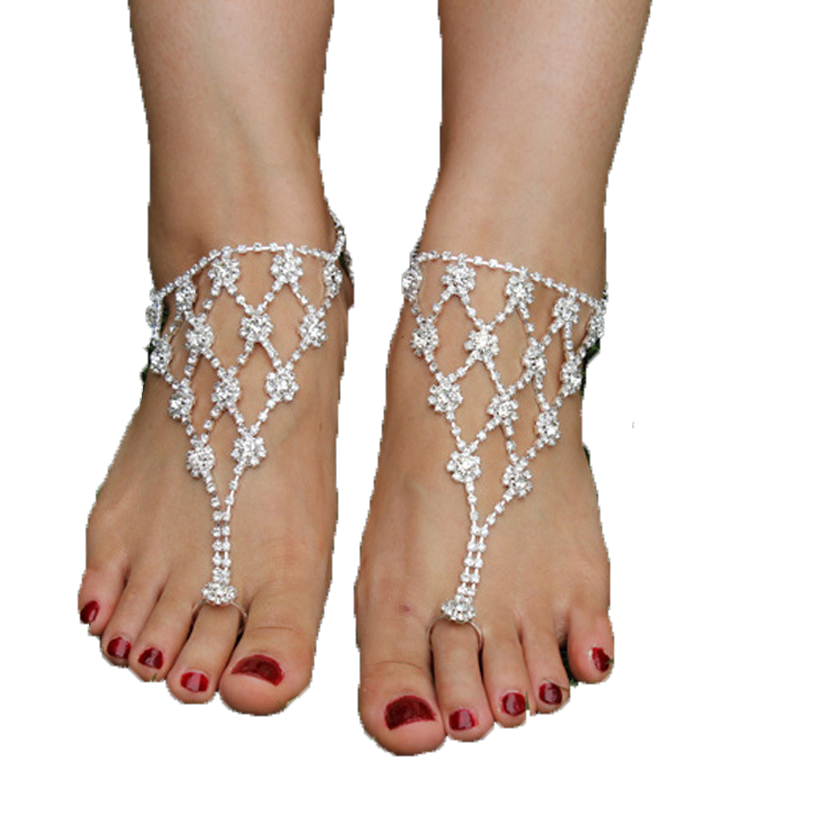 fashion Foot Anklet Women Sexy Rhinestone Barefoot Sandals Crystal Anklet Beach Foot Toe Jewelry Bridal Accessories(China (Mainland))