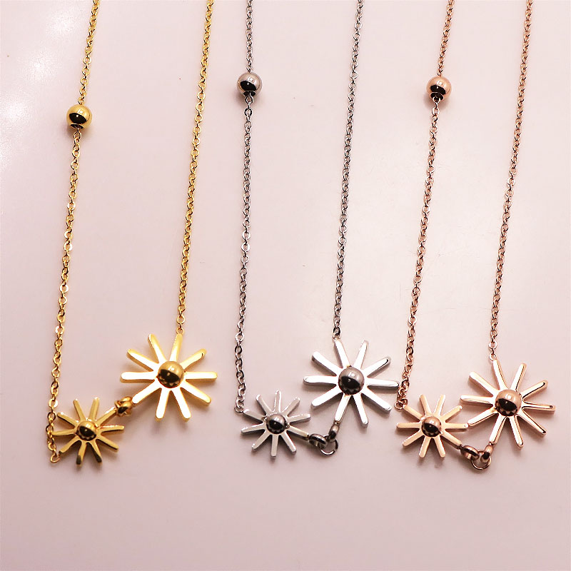 2016 Luxury Brand Lovely Double Sun Flower Pendant Necklace For Women Rose Gold Classic Stainless Steel Metal Daisy Charm Colar(China (Mainland))