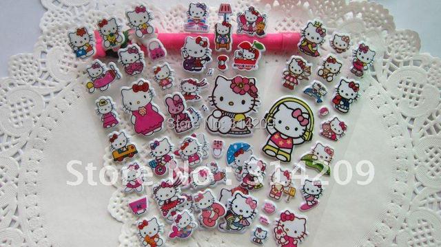 100 sheets/lot,  Hello Kitty Puffy Stickers Sheet, 3D Stickers, Cartoon Craft Scrapbook Stickers