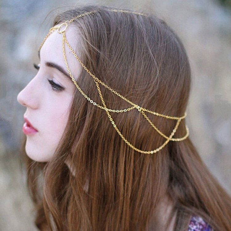 New Vintage Minimalist Style Gold Simple Tassel Circle Head Chain Headband Hair Jewelry Accessories for Women(China (Mainland))