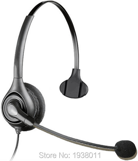 Hands-free Call Center Noise Cancelling Corded Monaural Headphones Headset with Mic for Desk Telephone -4-Pin RJ9 Crystal plug(China (Mainland))
