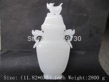001569 30 m * /100% pure natural handmade Afghanistan white jade.The dragon vase discount 30%(China (Mainland))