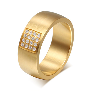 Fashion 18k gold plated ring wholesale shiny zircon wedding rings for women and men with high quality free shipping