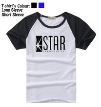STAR Laboratories Flash DC Comics TV Series S.T.A.R. Pattern Long Short Sleeves T-Shirt Men's Boys Tee Black Blue - iDzn Official Store store