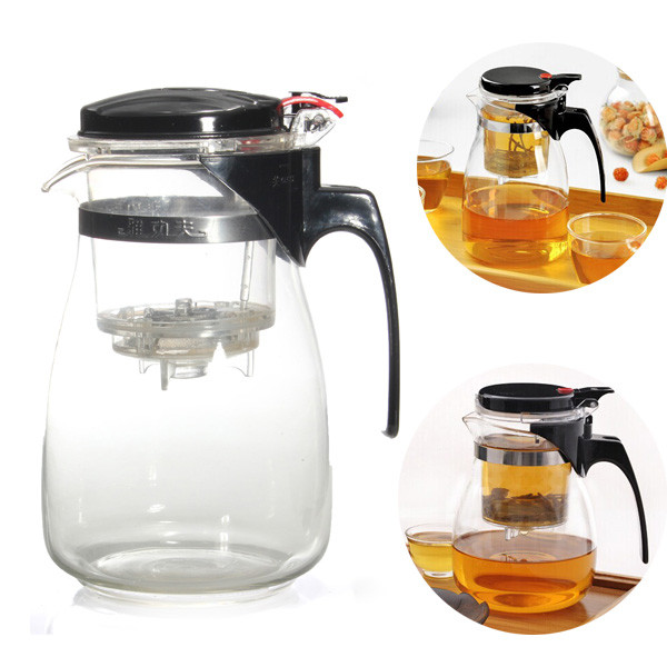 Hot Sale New Arrival 900ml Simple Tea Kettle Tea Pot Heat Resistan Glass Teapot Convenient Office