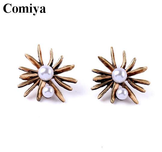 Double pearl earrings stud pearls jewelry earring summer fashion style flower cute lovely women trendy zinc alloy metal post(China (Mainland))