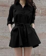 2015 Fashion Women Ladies Long Sleeve Chiffon Casual OL Belt Shirt One Piece Mini Dress Plus Size Free Shipping 35(China (Mainland))