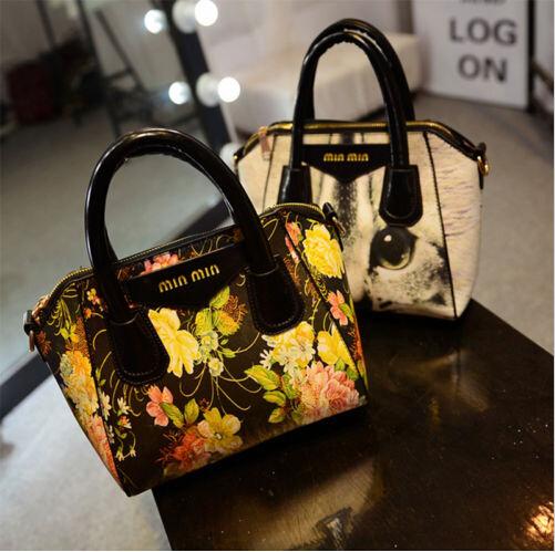 Fashion Lady Women Flowers / Cat Boston Shoulder Messenger Bag Hobo Tote(China (Mainland))