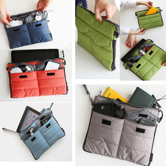 Scolour New Travel Multifunctional Storage Bag Tablet PC Padded Organizer Pouch(China (Mainland))