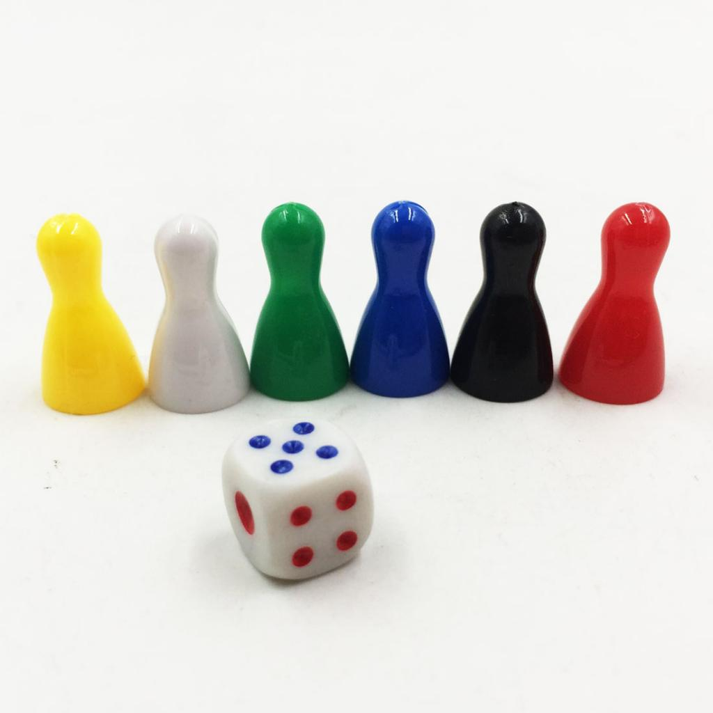 6Pcs Colorful Board Game Chessman Pieces Dice Set Pawn Chess for Card Games