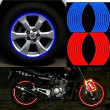 2015 Hot Sale Reflective Tire Stickers 18pcs Strips Motorcycle Car Wheel Tire Stickers Blue Red RimTape Car Styling Stickers