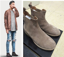 High End customized  kywest  suede genuine leather Chelsea boots new luxury designer boot plus size 46