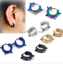 Fashion 5 Styles Rock Punk Gothic Style Mens Stainless Steel Taper Hoop Spike Stud Earrings(China (Mainland))