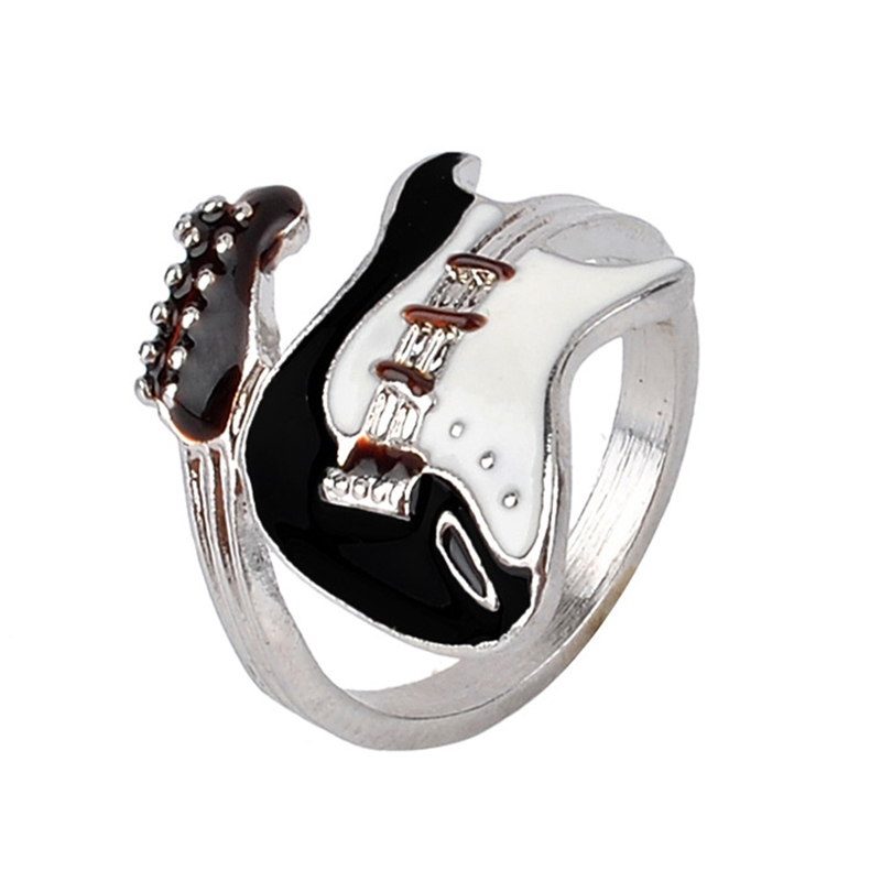 Personalized European Style Punk Style Bright Colorful Glazed Guitar Ring White And Black Ring Musical Tools Bijoux(China (Mainland))