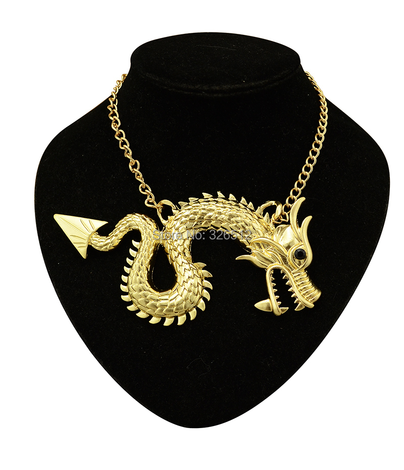 New gold dragon totem necklace mens animal pendant chain necklace cheap fashion jewelry alibaba spanish Free shipping(China (Mainland))