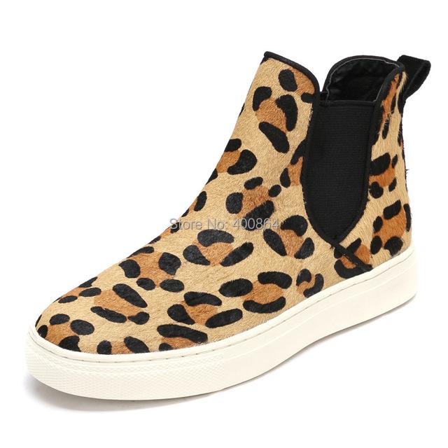 Весна мужчины натуральная кожа короткая сапоги свободного покроя мягкий леопардовый ...